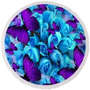 Roses And Purple Butterflies Round Beach Towel by Saundra Myles