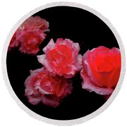 Roses And Rain Round Beach Towel