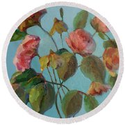 Roses And Wildflowers Round Beach Towel