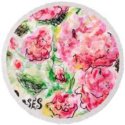 Roses Are Pink Round Beach Towel