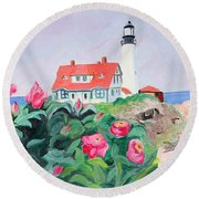 Roses At Portland Headlight Round Beach Towel