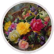 Roses By A Pond On A Grassy Bank  Round Beach Towel by Albert Williams
