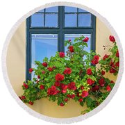 Roses Decorating A House Round Beach Towel