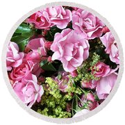 Roses From The Garden Round Beach Towel