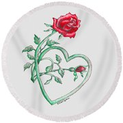 Roses Hearts Lace Flowers Transparency       Round Beach Towel