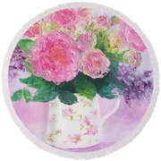Roses In A Pink Floral Jug Round Beach Towel
