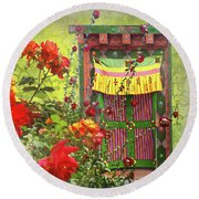 Round Beach Towel featuring the photograph Roses In Bhutan by Jeff Burgess