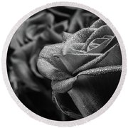Roses In Black And White Round Beach Towel