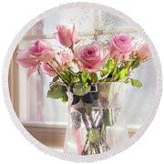 Roses In The Kitchen Round Beach Towel