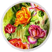 Round Beach Towel featuring the painting Roses In The Valley  by Harsh Malik