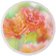 Roses In Threes Round Beach Towel