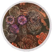 Roses In Time Round Beach Towel
