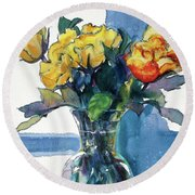 Roses In Vase Still Life I Round Beach Towel