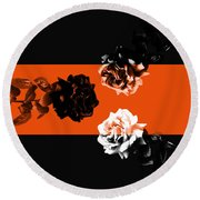 Roses Interact With Orange Round Beach Towel