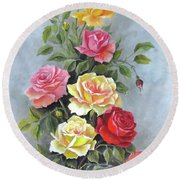 Roses Round Beach Towel by Katia Aho