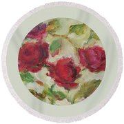 Round Beach Towel featuring the painting Roses by Mary Wolf