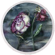 Round Beach Towel featuring the painting Roses Never Die by Nadine Dennis