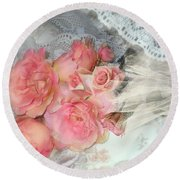 Roses On My Pillow Round Beach Towel