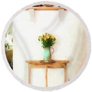 Rose's On Table Round Beach Towel