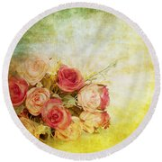Roses Pattern Retro Design Round Beach Towel