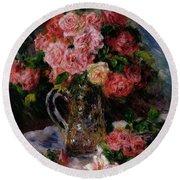Roses Round Beach Towel by Pierre Auguste Renoir