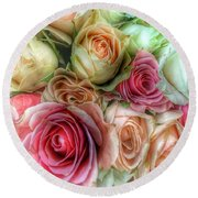 Round Beach Towel featuring the photograph Roses- Pink And Cream by Marianna Mills