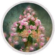 Roses Pink And Shabby Chic Round Beach Towel by Saundra Myles
