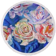 Roses, Roses On Blue Round Beach Towel