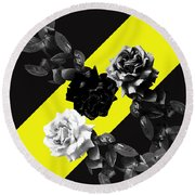Roses Versus Yellow Round Beach Towel
