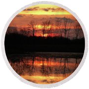 Rosy Mist Sunrise Round Beach Towel