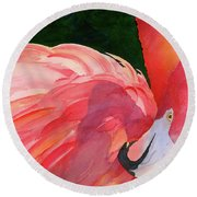 Round Beach Towel featuring the painting Rosy Outlook by Judy Mercer