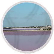 Rosy Red Salt Lakes Round Beach Towel