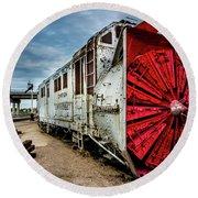 Rotary Snow Plow Vintage Train - Utah Round Beach Towel by Gary Whitton