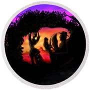 Rotatable Artwork Picking Grapes In The Purple Haze Round Beach Towel