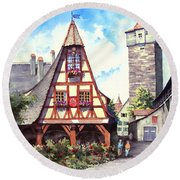 Rothenburg Memories Round Beach Towel