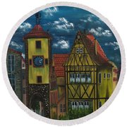 Round Beach Towel featuring the painting Rothenburg Ob Der Tauber by The GYPSY And DEBBIE