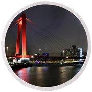 Rotterdam - Willemsbrug At Night Round Beach Towel