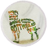 Round Beach Towel featuring the painting Rottweiler Dog Watercolor Painting / Typographic Art by Ayse and Deniz