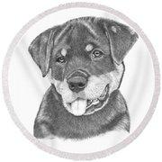 Rottweiler Puppy- Chloe Round Beach Towel