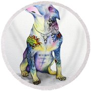 Rottweiler Rebel Round Beach Towel by Patricia Lintner
