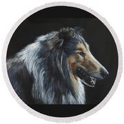 Rough Collie Round Beach Towel
