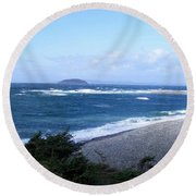 Round Beach Towel featuring the photograph Rough Day On The Point by Barbara Griffin