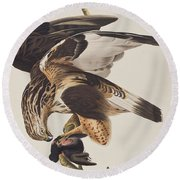 Rough Legged Falcon Round Beach Towel by John James Audubon