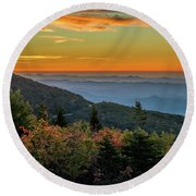 Rough Morning - Blue Ridge Parkway Sunrise Round Beach Towel