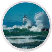 Rough Seas  Round Beach Towel