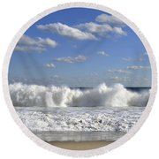 Rough Surf Jersey Shore  Round Beach Towel