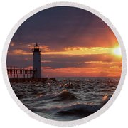 Round Beach Towel featuring the photograph Rough Water Sunset by Fran Riley