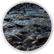 Round Beach Towel featuring the photograph Rough Waters by Helga Novelli