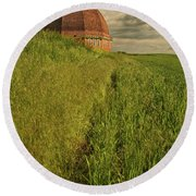 Round Beach Towel featuring the photograph Round Barn by Bob Cournoyer