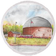 Round Barn In Route 66, Arcadia, Oklahoma Round Beach Towel